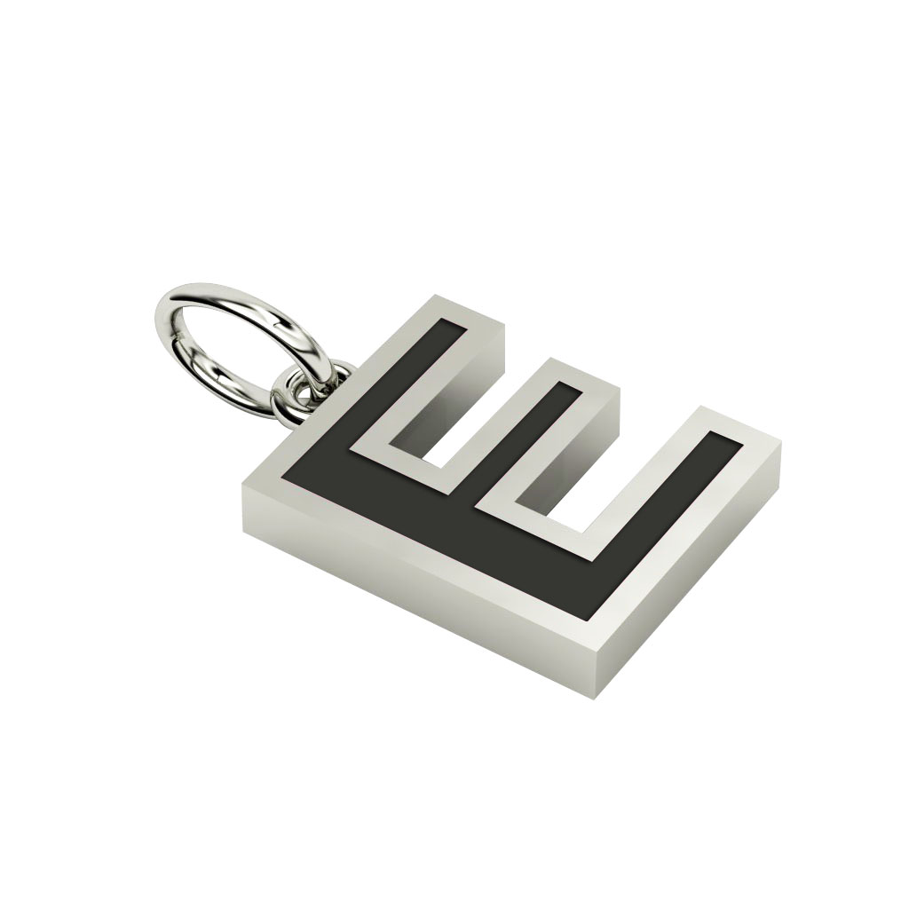 Alphabet Capital Initial Letter E Pendant, made of 925 sterling silver / 18k white gold finish with black enamel