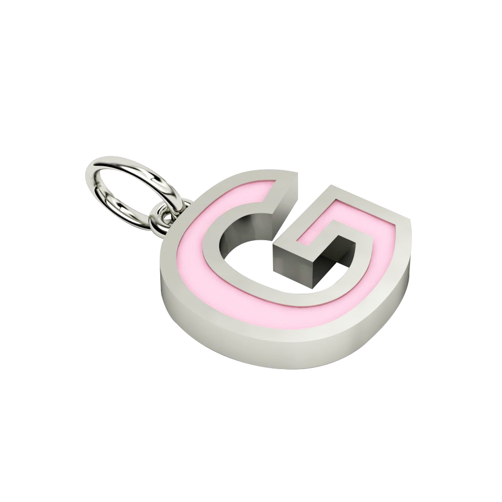 Alphabet Capital Initial Letter G Pendant, made of 925 sterling silver / 18k white gold finish with pink enamel