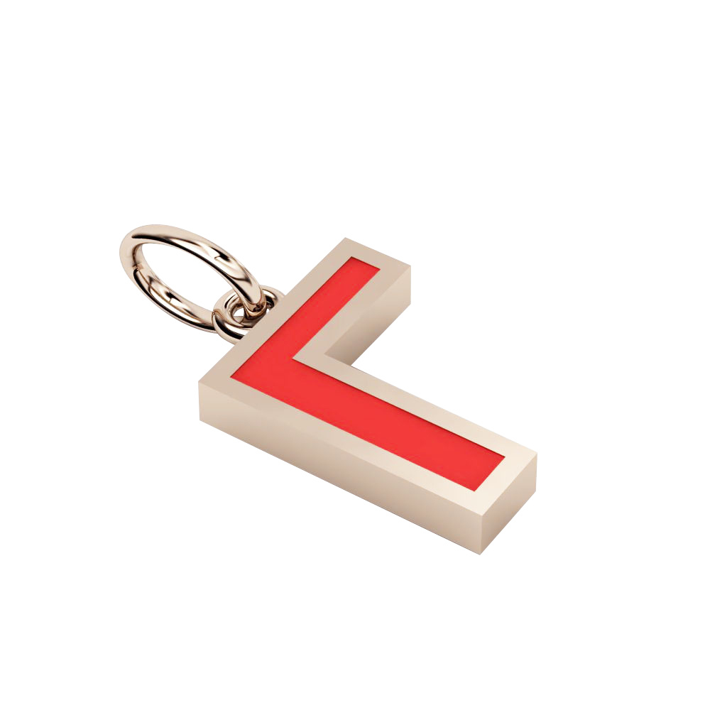 Alphabet Capital Initial Greek Letter Γ Pendant, made of 925 sterling silver / 18k rose gold finish with red enamel
