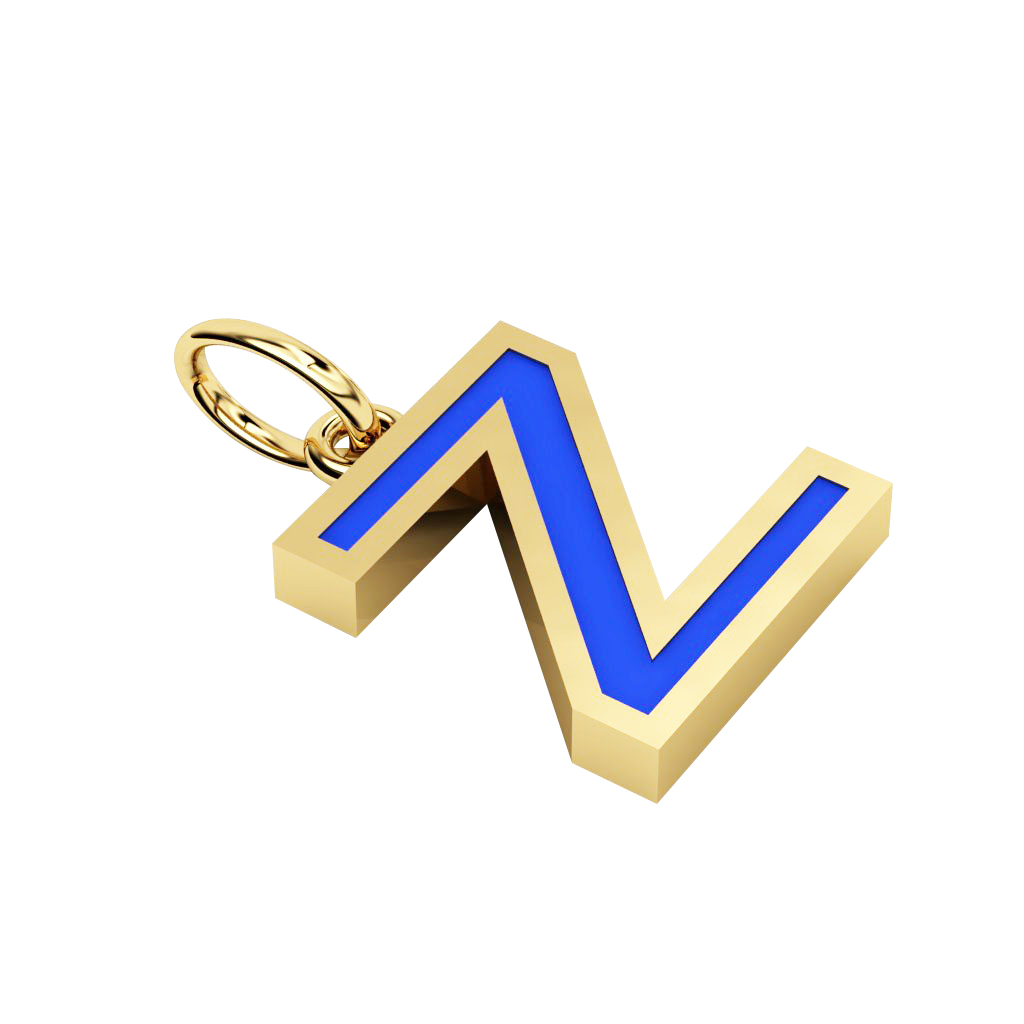 Alphabet Capital Initial Greek Letter Ζ Pendant, made of 925 sterling silver / 18k gold finish with blue enamel
