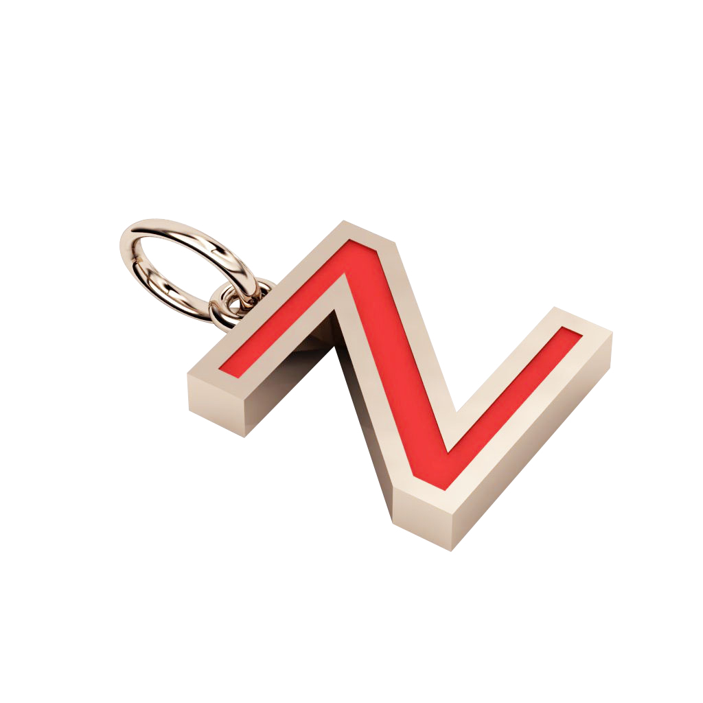 Alphabet Capital Initial Greek Letter Ζ Pendant, made of 925 sterling silver / 18k rose gold finish with red enamel