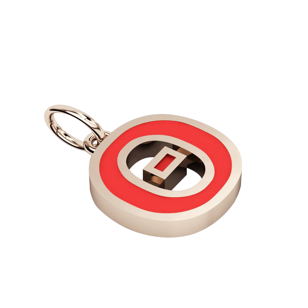 Alphabet Capital Initial Greek Letter Θ Pendant, made of 925 sterling silver / 18k rose gold finish with red enamel