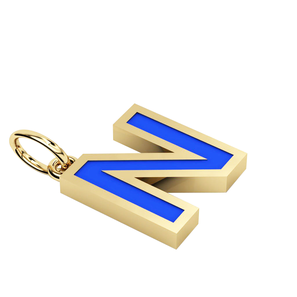 Alphabet Capital Initial Greek Letter Ν Pendant, made of 925 sterling silver / 18k gold finish with blue enamel