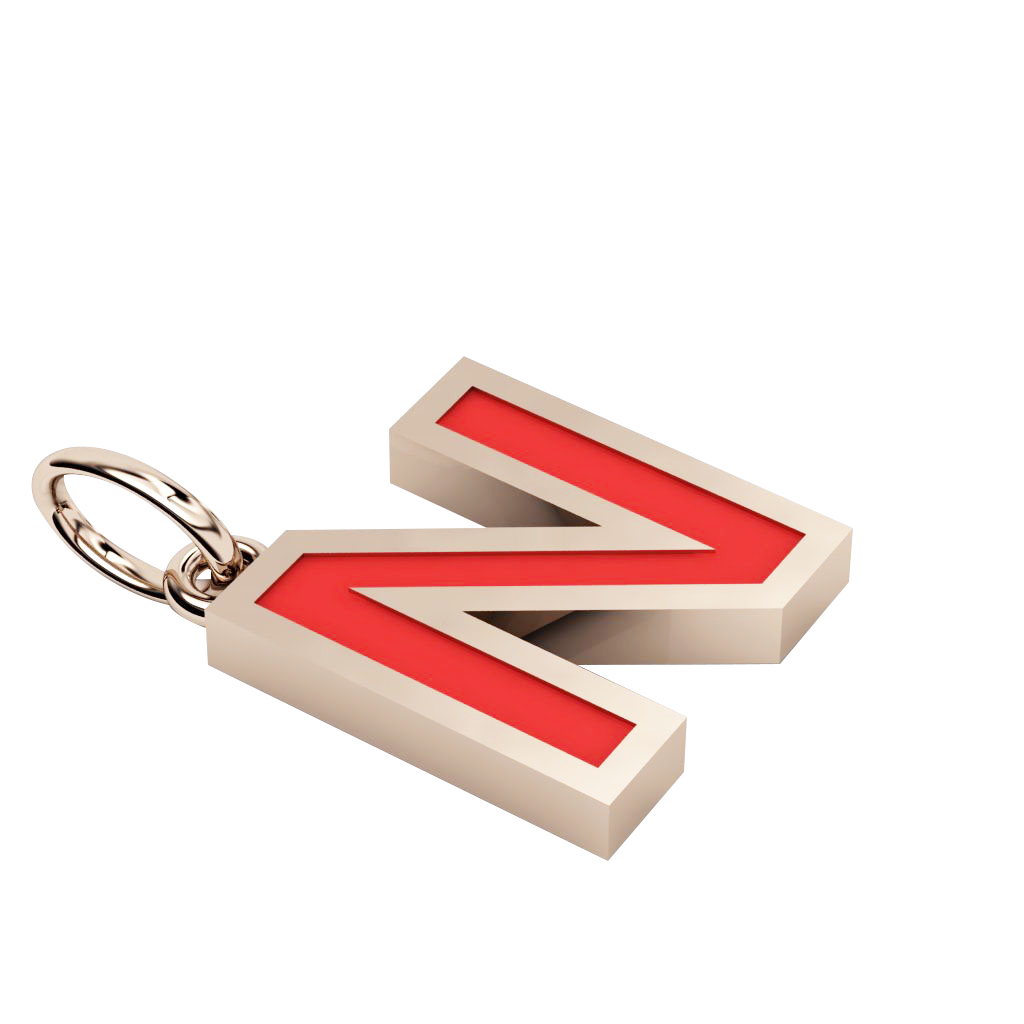 Alphabet Capital Initial Greek Letter Ν Pendant, made of 925 sterling silver / 18k rose gold finish with red enamel