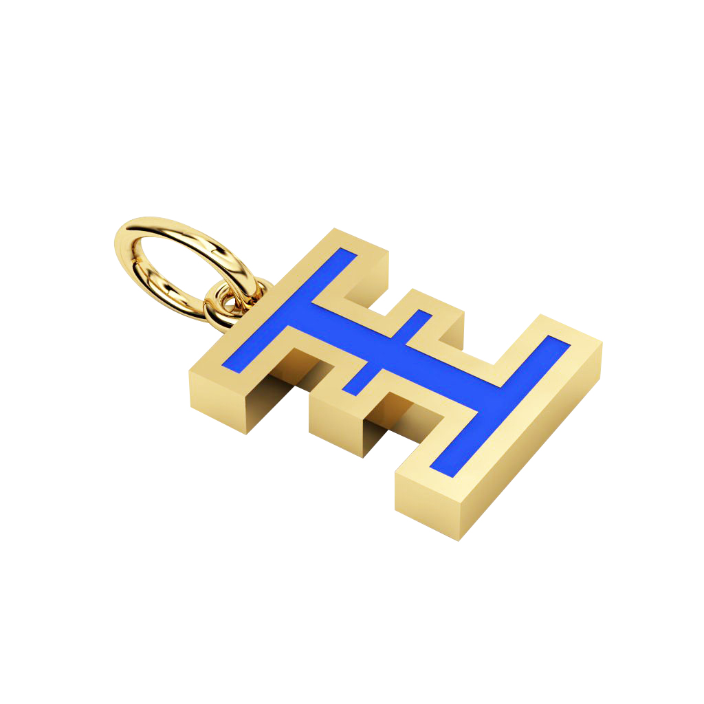 Alphabet Capital Initial Greek Letter Ξ Pendant, made of 925 sterling silver / 18k gold finish with blue enamel