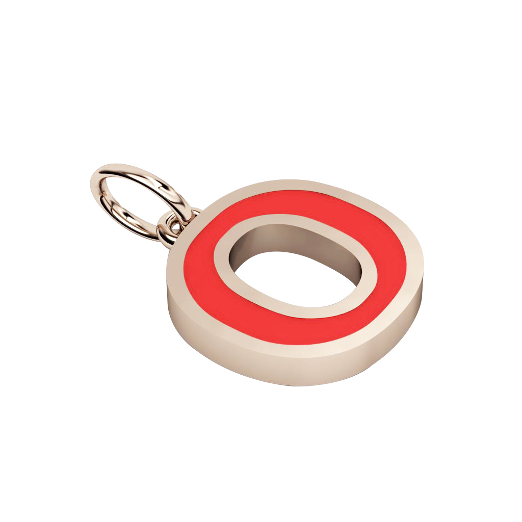 Alphabet Capital Initial Greek Letter Ο Pendant, made of 925 sterling silver / 18k rose gold finish with red enamel