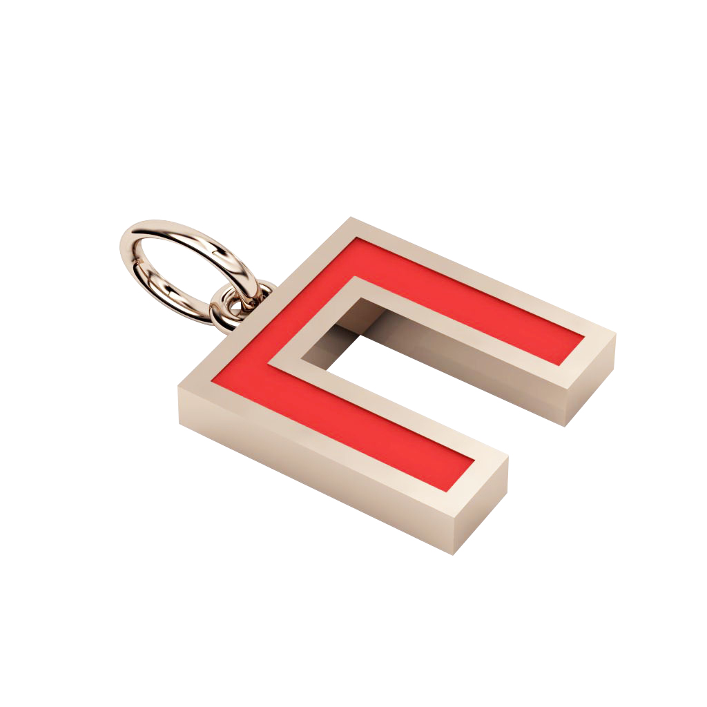 Alphabet Capital Initial Greek Letter Π Pendant, made of 925 sterling silver / 18k rose gold finish with red enamel