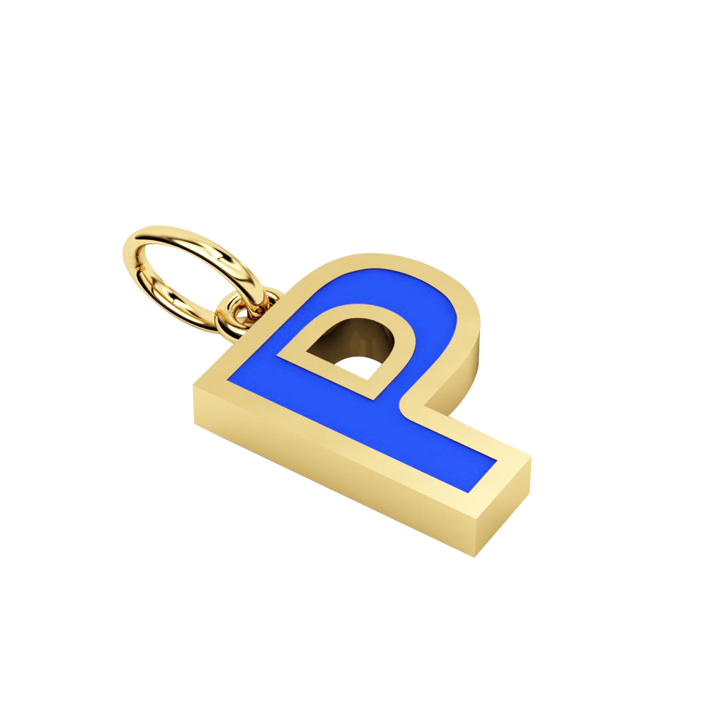 Alphabet Capital Initial Greek Letter Ρ Pendant, made of 925 sterling silver / 18k gold finish with blue enamel