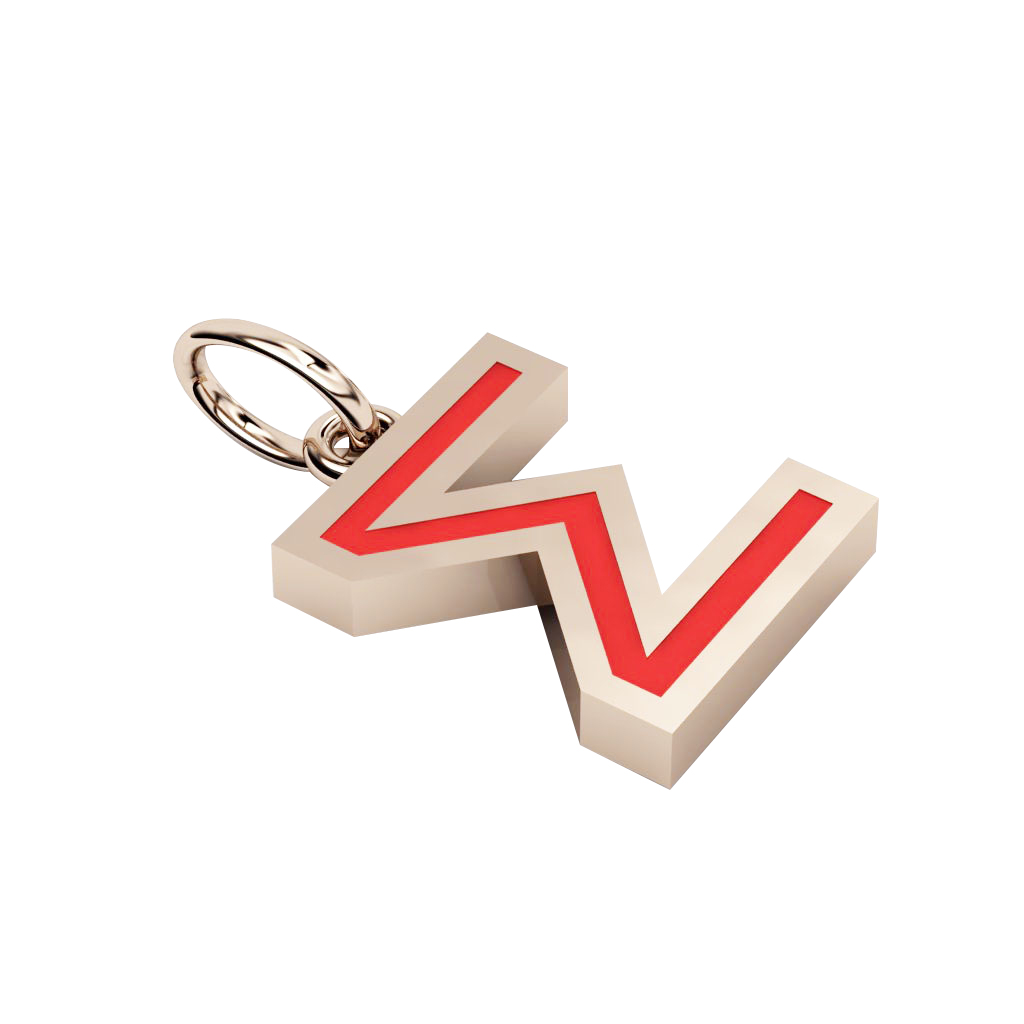 Alphabet Capital Initial Greek Letter Σ Pendant, made of 925 sterling silver / 18k rose gold finish with red enamel