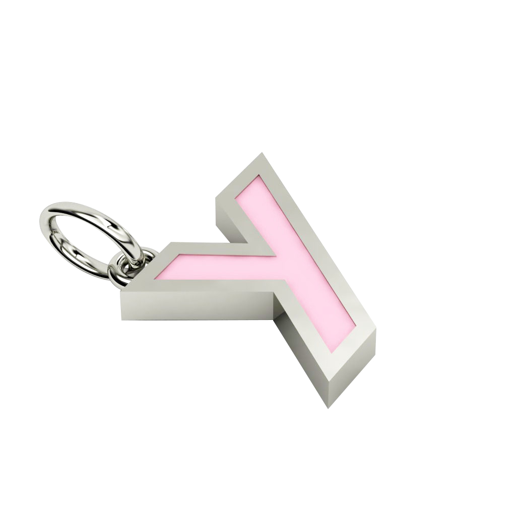 Alphabet Capital Initial Greek Letter Υ Pendant, made of 925 sterling silver / 18k white gold finish with pink enamel