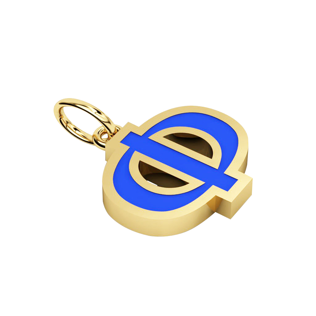 Alphabet Capital Initial Greek Letter Φ Pendant, made of 925 sterling silver / 18k gold finish with blue enamel