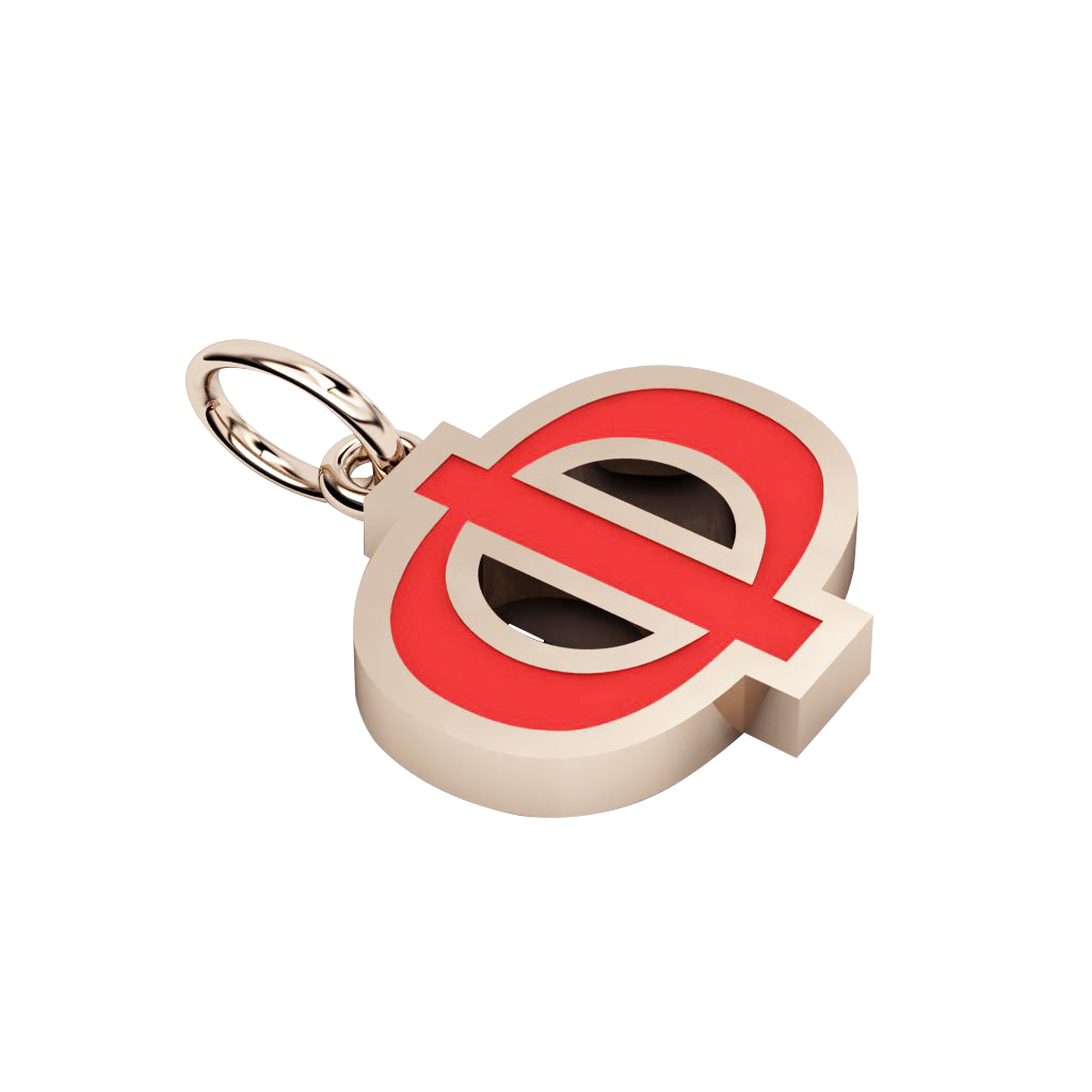 Alphabet Capital Initial Greek Letter Φ Pendant, made of 925 sterling silver / 18k rose gold finish with red enamel
