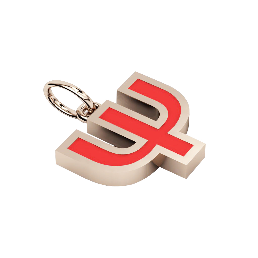 Alphabet Capital Initial Greek Letter Ψ Pendant, made of 925 sterling silver / 18k rose gold finish with red enamel