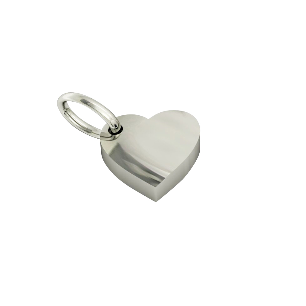 Small Heart Pendant, hand finished, made of 14 karat white gold