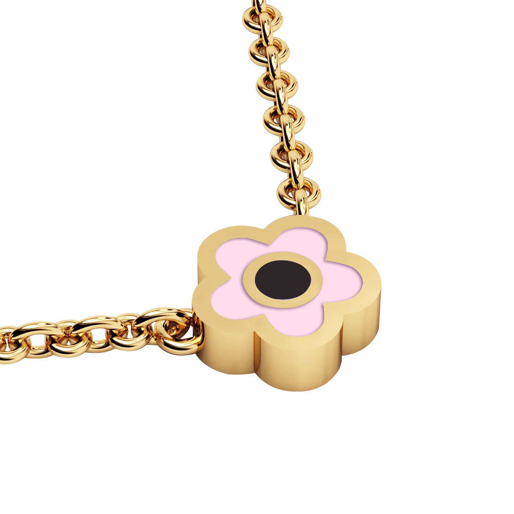 Daisy Evil Eye Necklace, made of 925 sterling silver / 18k gold finish with black & pink enamel