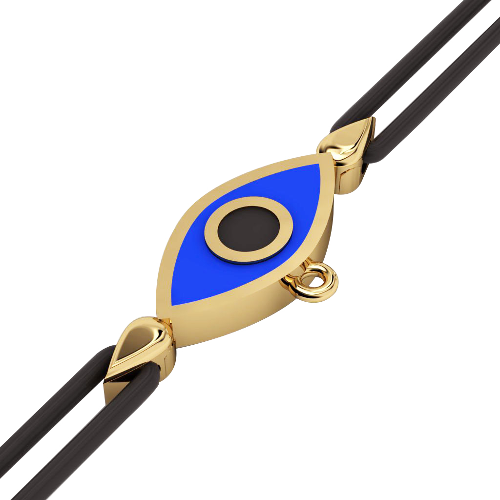 Navette Evil Eye Macrame Charm Bracelet, made of 925 sterling silver / 18k gold  finish with black and blue enamel – black cord