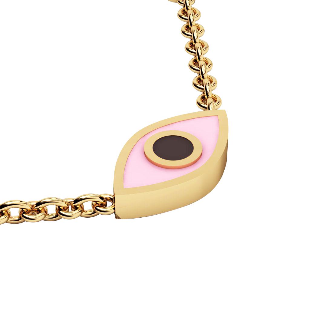 Navette Evil Eye Necklace, made of 925 sterling silver / 18k gold finish with black & pink enamel