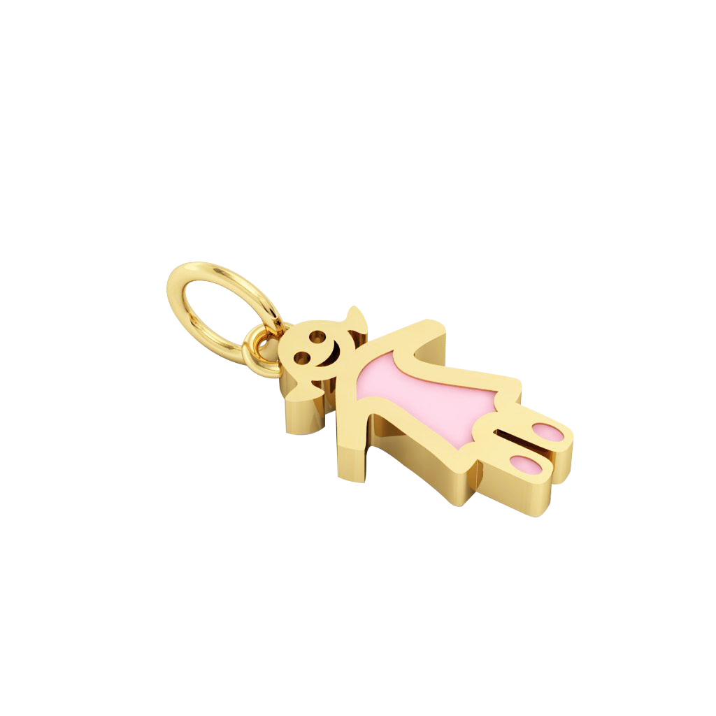 baby girl pendant, made of 925 sterling silver / 18k gold finish with pink enamel