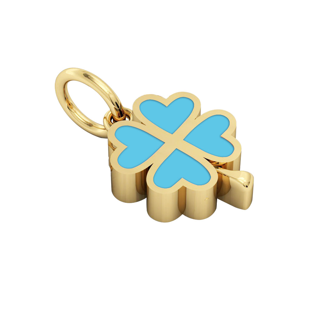 Big Quatrefoil Pendant, made of 925 sterling silver / 18k gold finish with turquoise enamel
