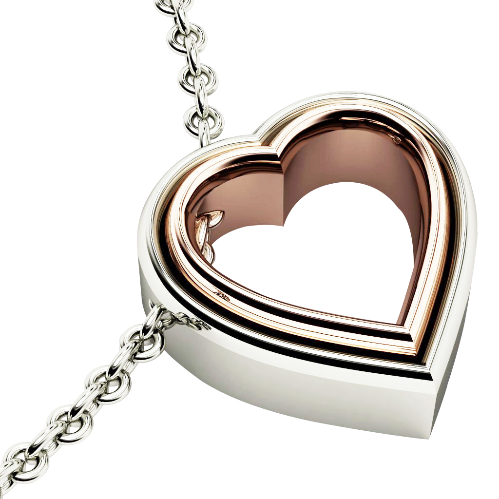 Twin Heart Necklace, made of 925 sterling silver / 18k white & rose gold finish