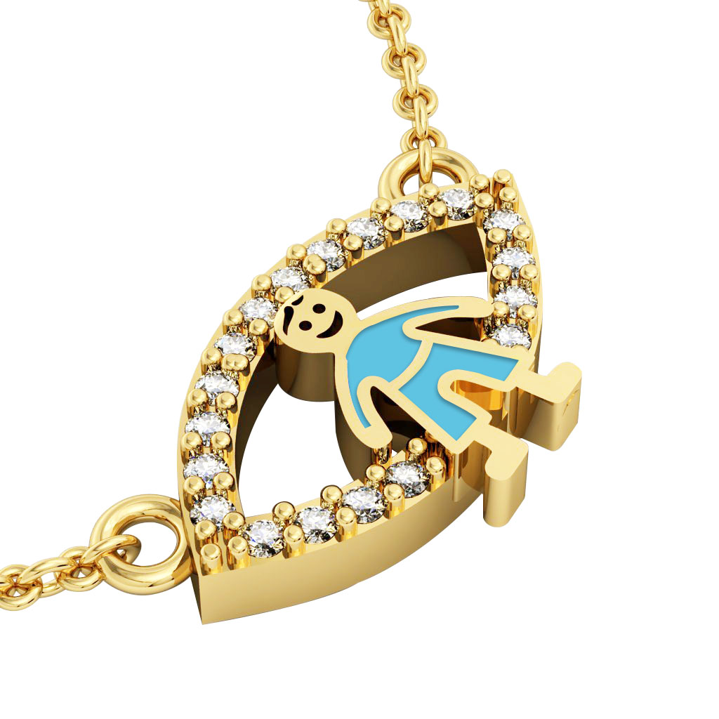 Boy Evil Eye Necklace, made of 925 sterling silver / 18k gold finish with turquoise enamel and white zircon
