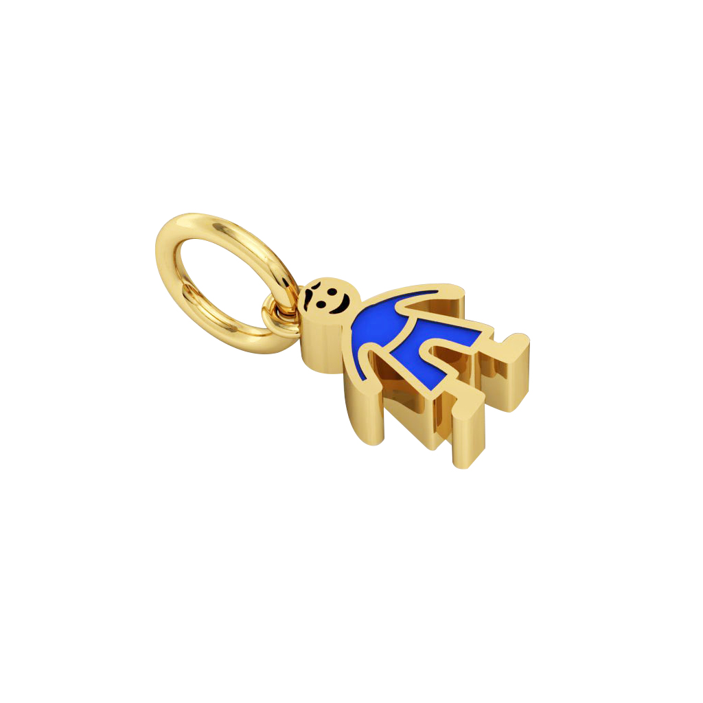 boy pendant, made of 925 sterling silver / 18k gold finish with blue enamel