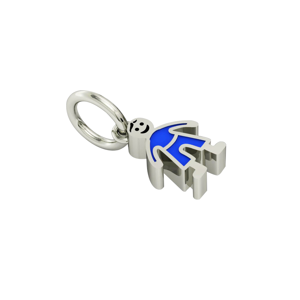 boy pendant, made of 925 sterling silver / 18k white gold finish with blue enamel