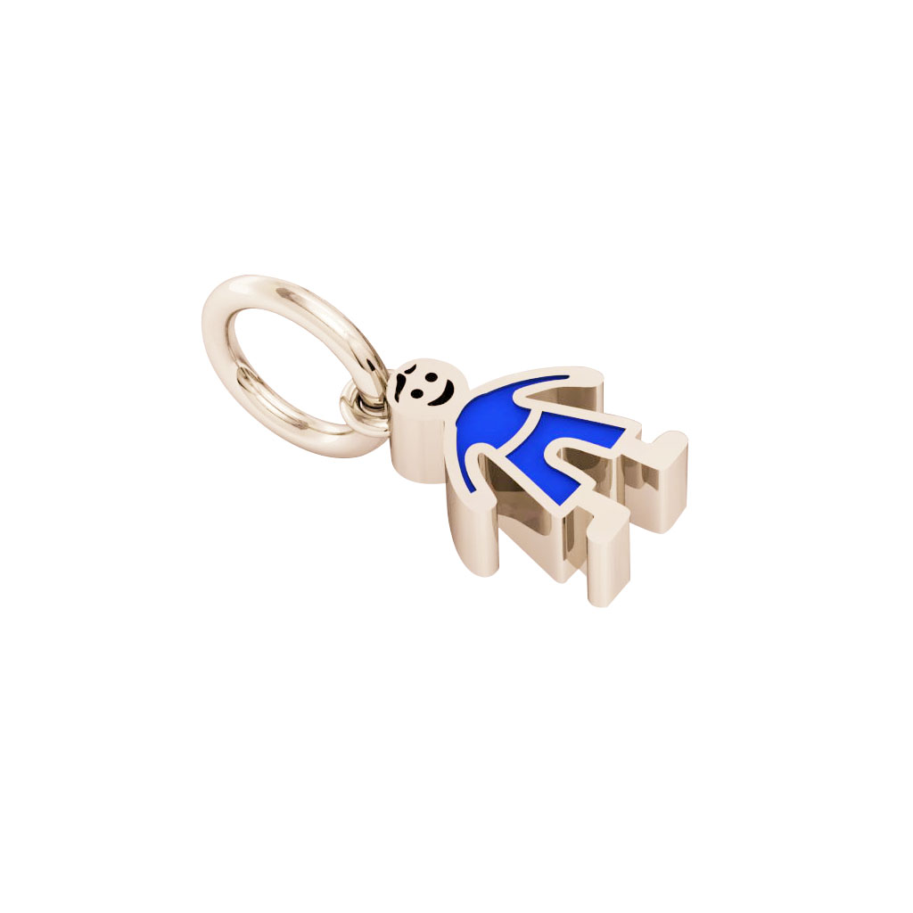 boy pendant, made of 925 sterling silver / 18k rose gold finish with blue enamel