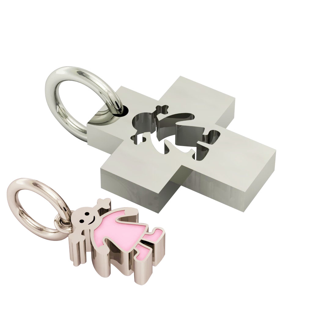 little cross with girl, father and daughter cobo pendant, made of 925 sterling silver with pink enamel / 23