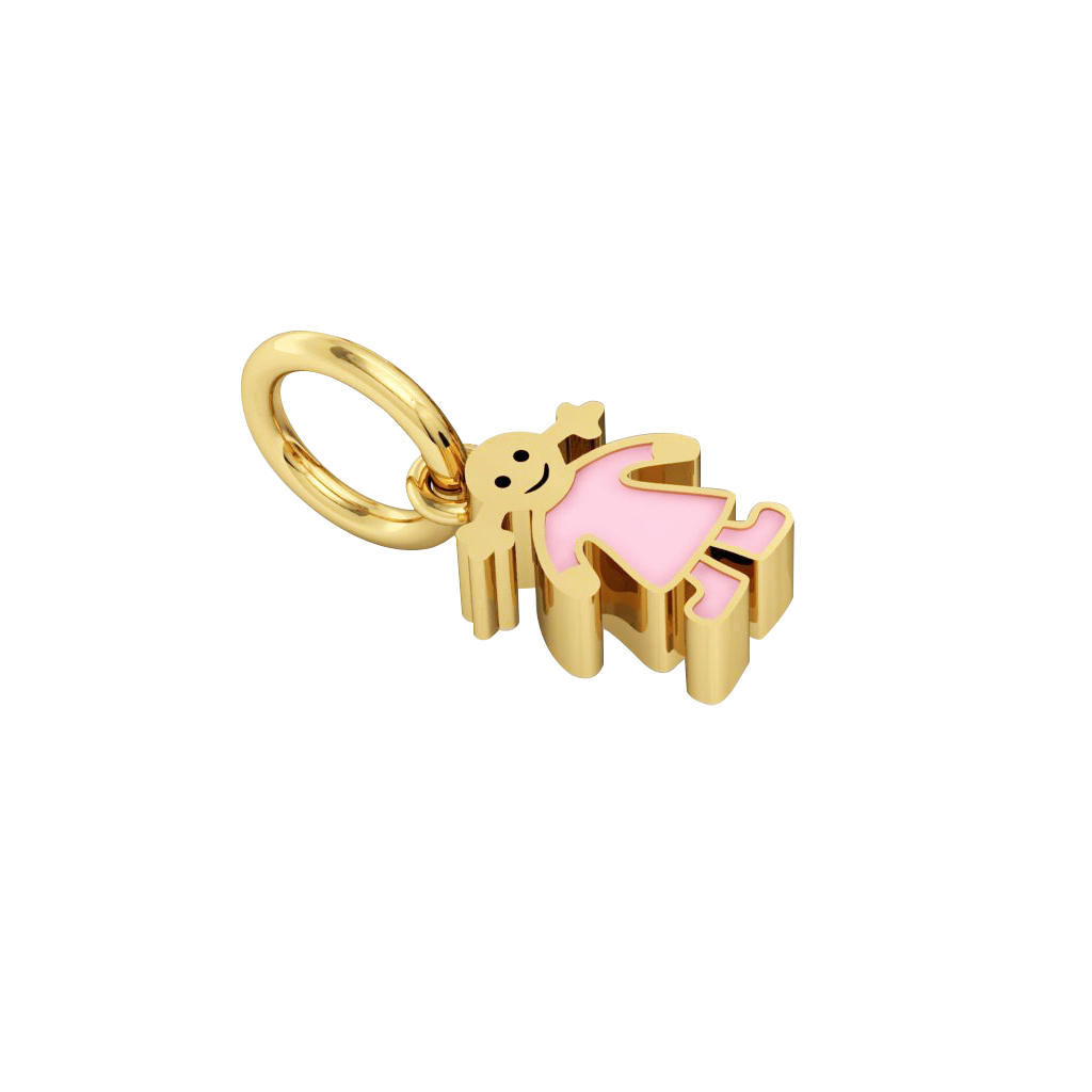 girl pendant, made of 925 sterling silver / 18k gold finish with pink enamel