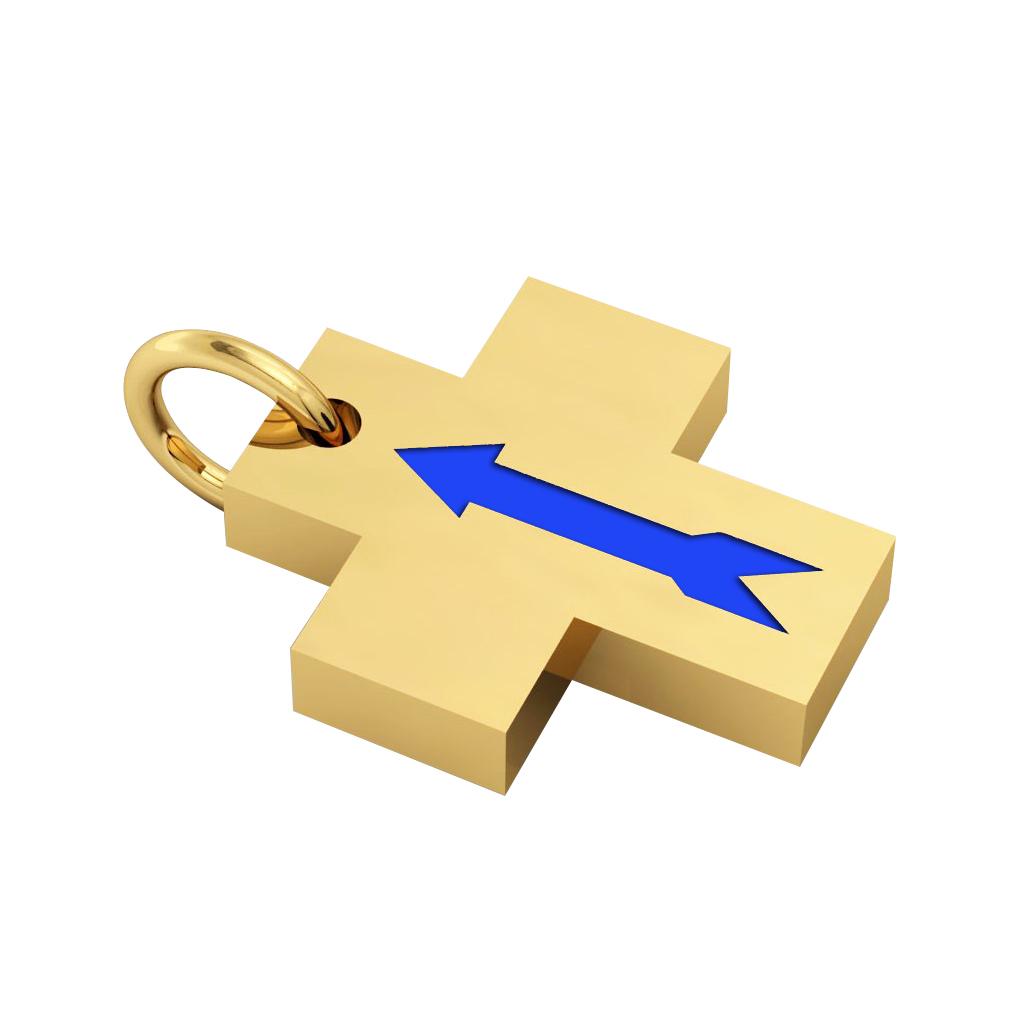 Little Cross with an internal enamel Arrow, made of 925 sterling silver / 18k gold finish with blue enamel