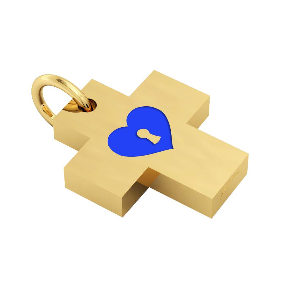 Little Cross with an internal enamel Heart Padlock, made of 925 sterling silver / 18k gold finish with blue enamel