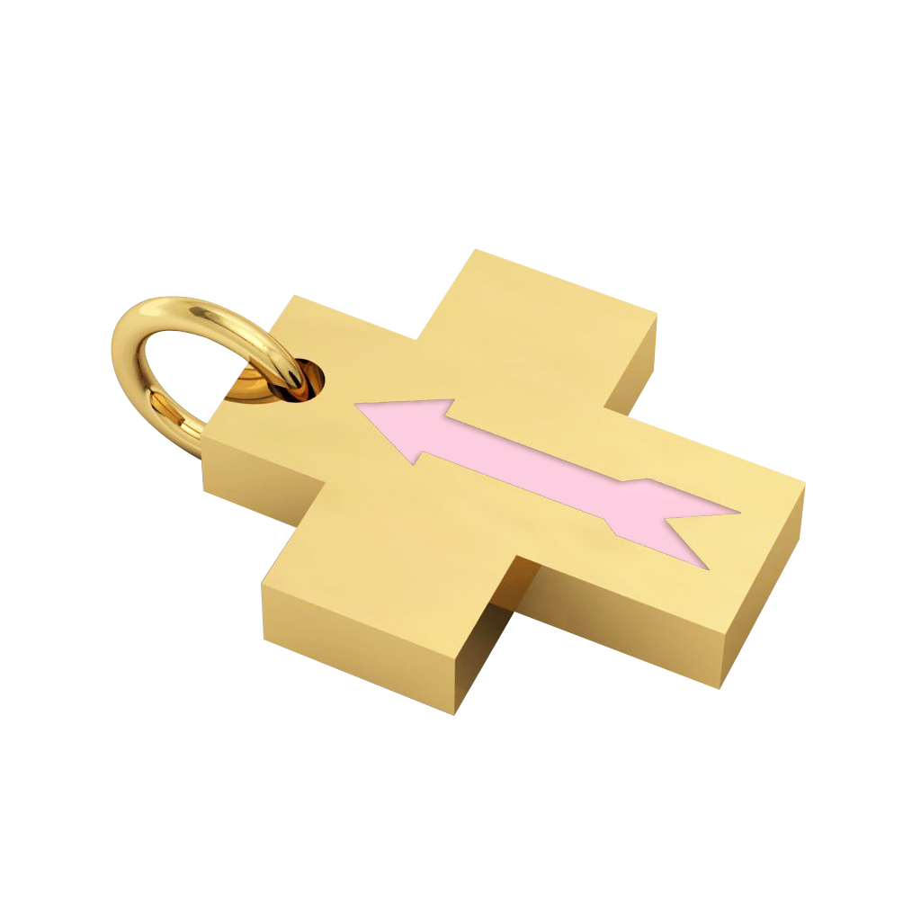 Little Cross with an internal enamel Arrow, made of 925 sterling silver / 18k gold finish with pink enamel