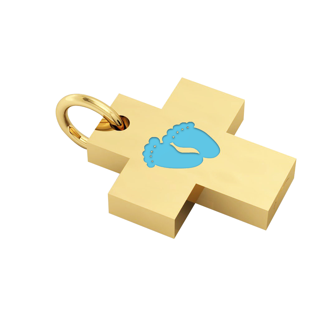 Little Cross with internal enamel Baby Feet, made of 925 sterling silver / 18k gold finish with turquoise enamel