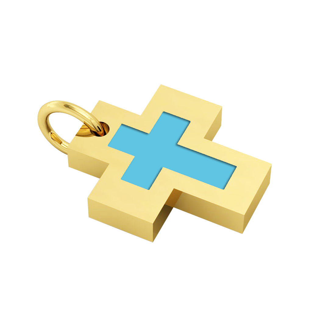 Little Cross with an internal enamel Cross, made of 925 sterling silver / 18k gold finish with turquoise enamel