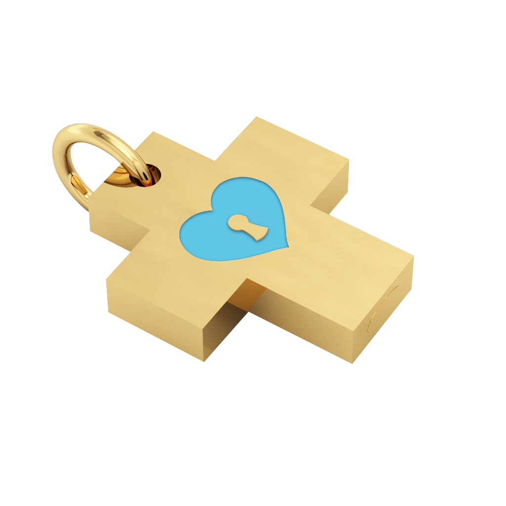 Little Cross with an internal enamel Heart Padlock, made of 925 sterling silver / 18k gold finish with turquoise enamel