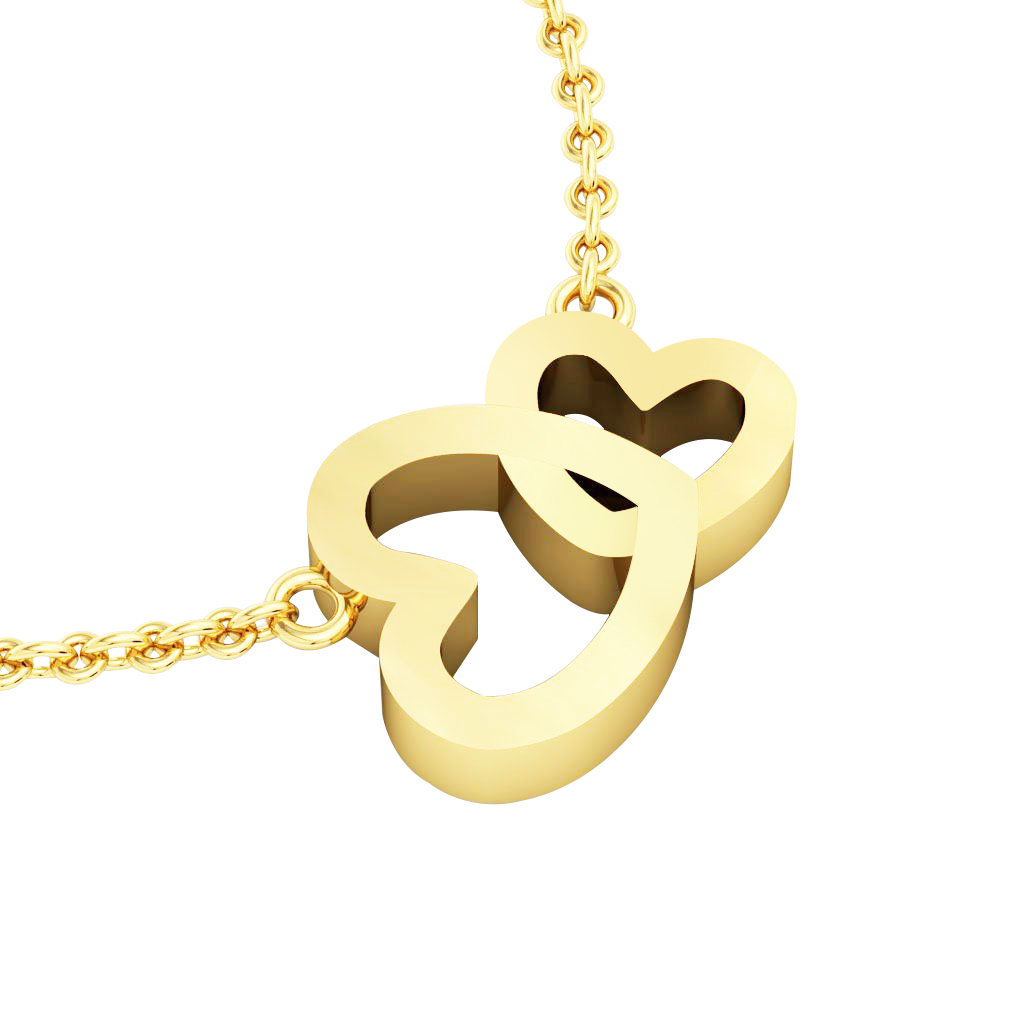 Double Heart Necklace, made of 925 sterling silver / 18k gold finish
