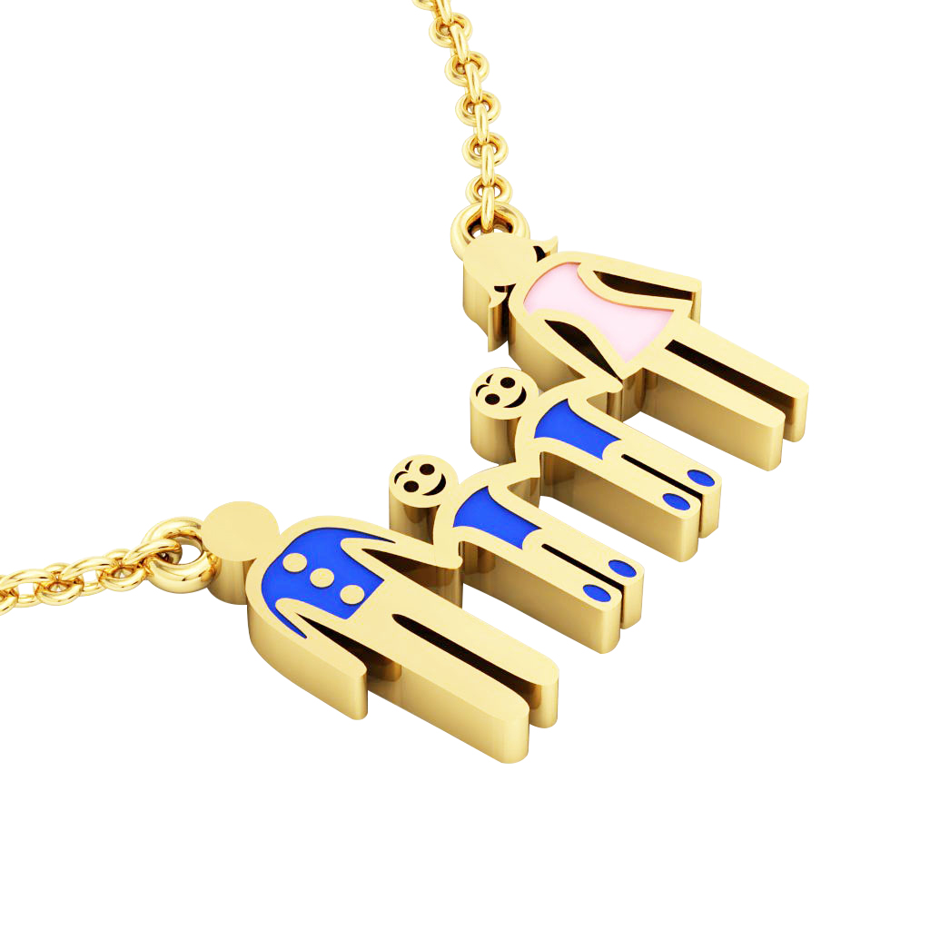 4members Family necklace, father - 2 sons – mother, made of 925 sterling silver / 18k gold finish with blue and pink enamel