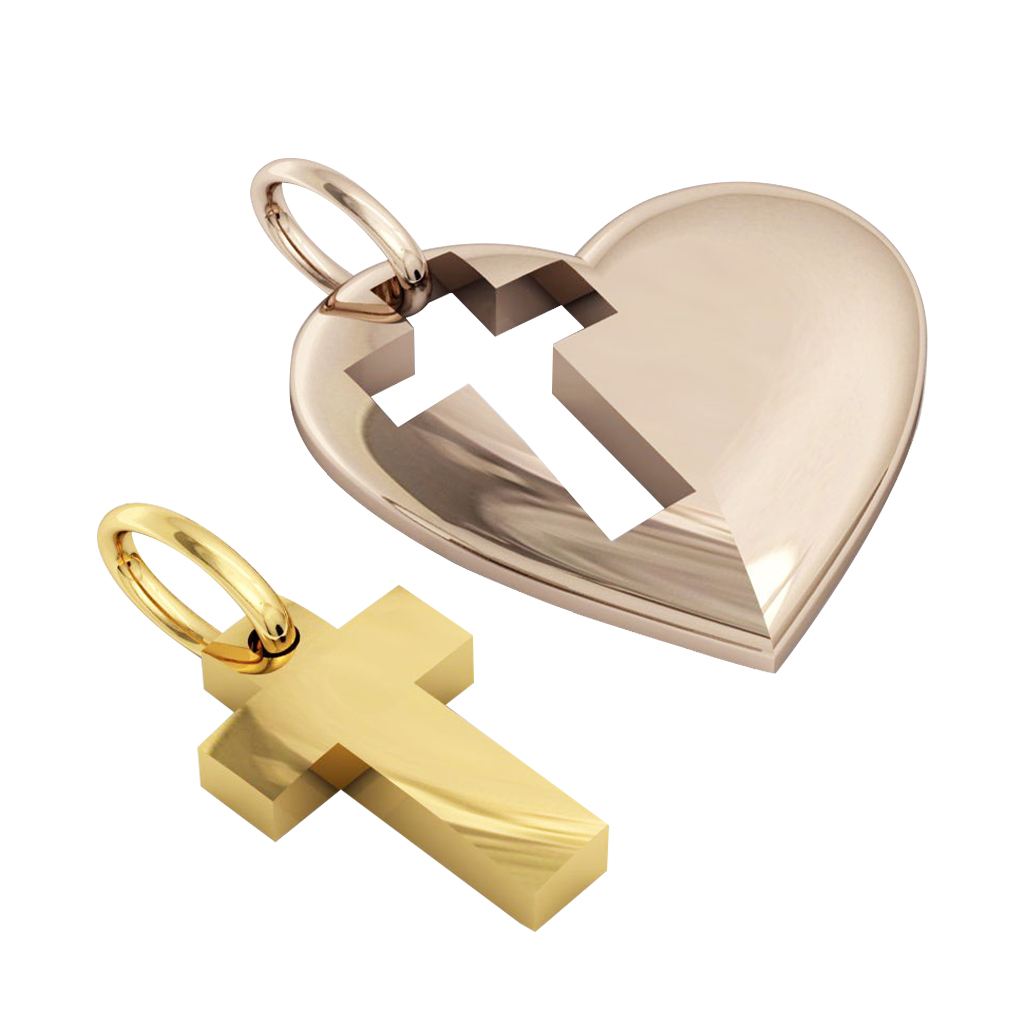 heart with cross, mother and son cobo pendant, made of 925 sterling silver / 31