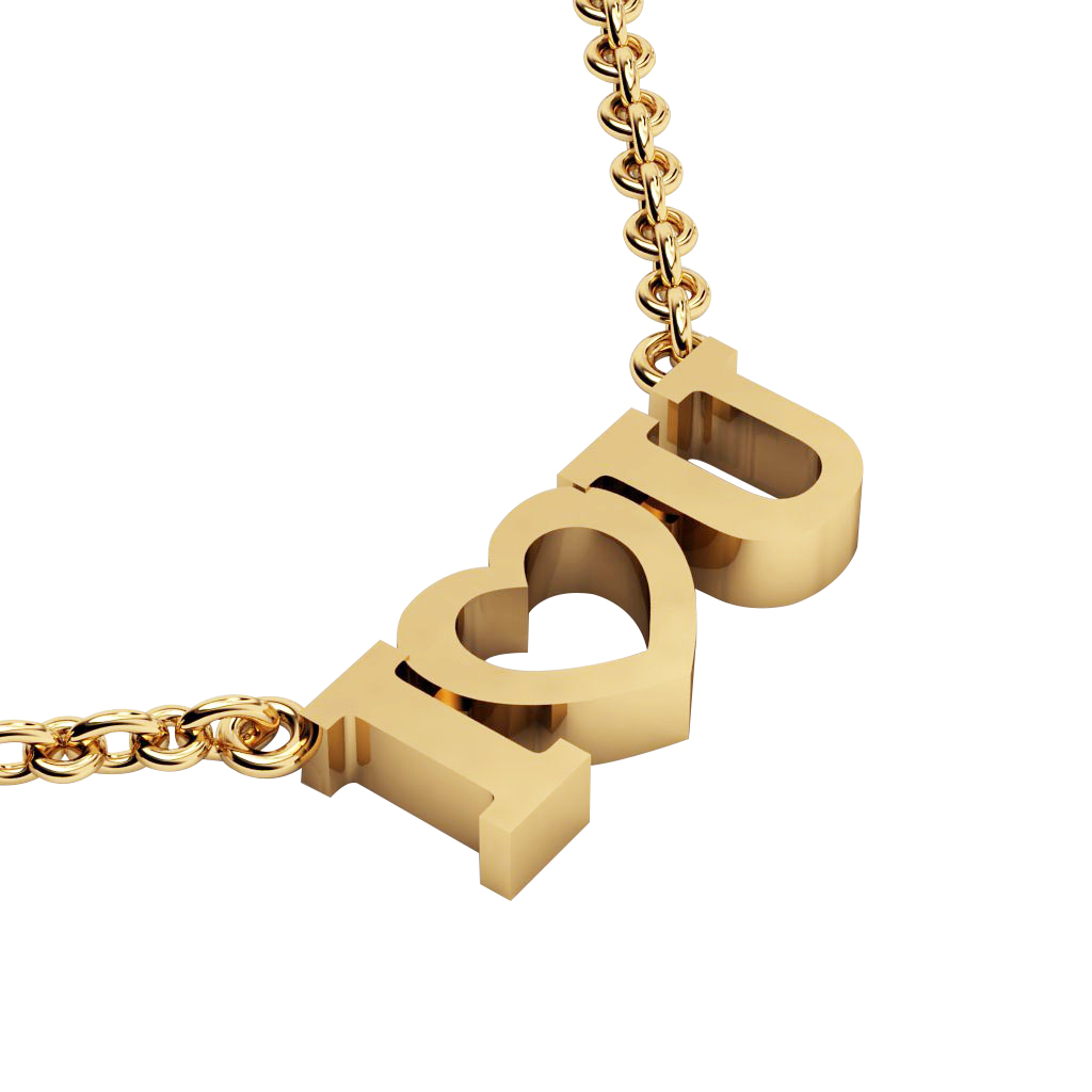 I love you Necklace, made of 925 sterling silver / 18k gold finish