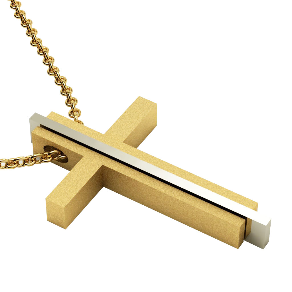 Triple Cross 5, made of 925 sterling silver / gold-white-gold