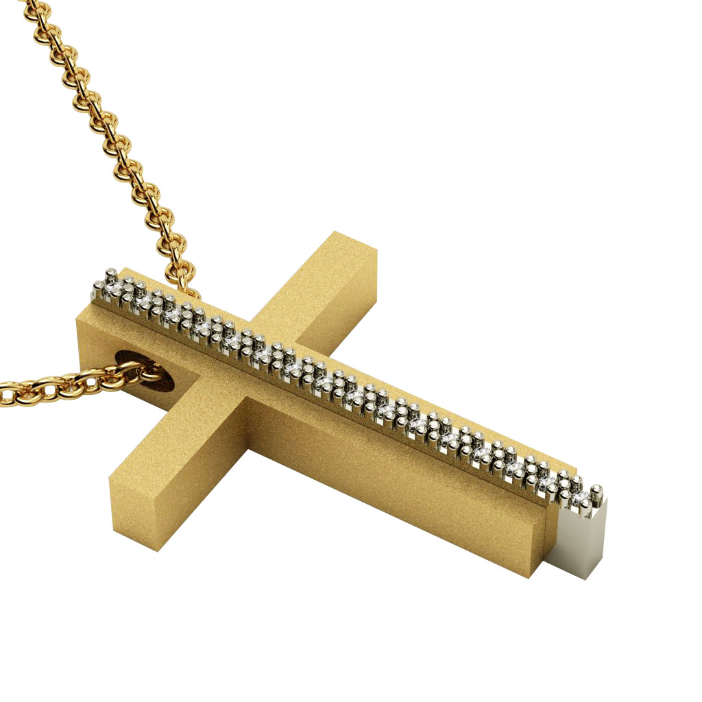 Triple Cross 8, made of 925 sterling silver with white zircon / gold-white-gold