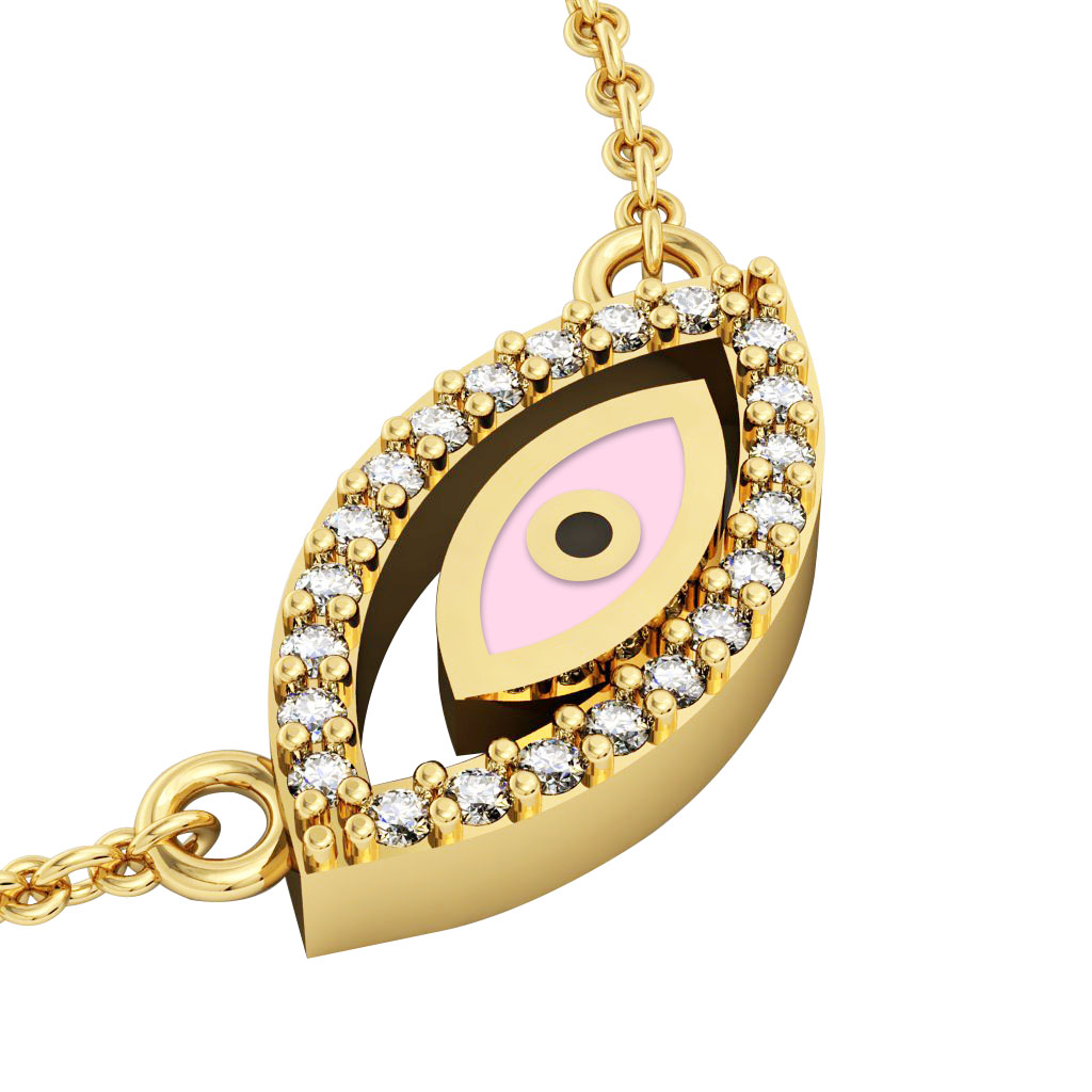 Twin Evil Eye Necklace, made of 925 sterling silver / 18k gold finish with pink enamel and white zircon
