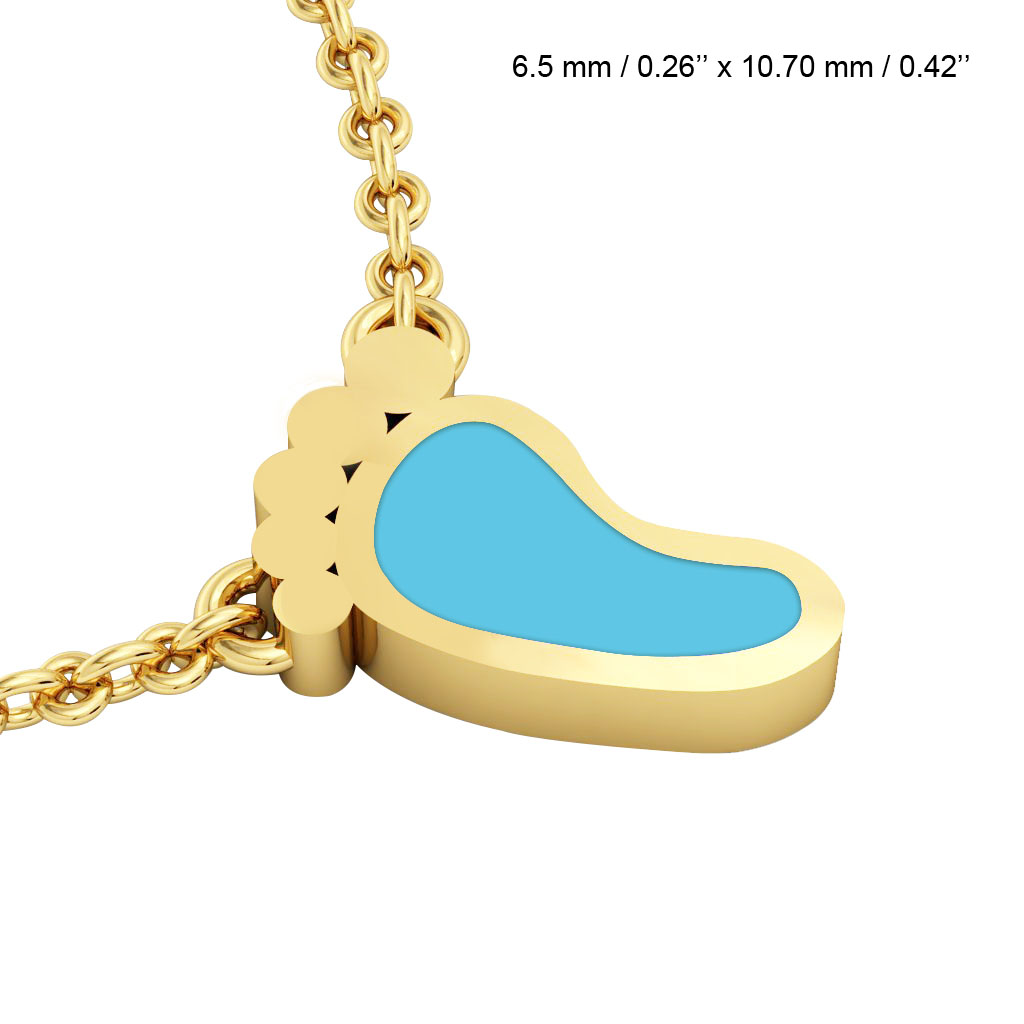 Baby foot necklace made of 925 sterling silver 18k gold finish baby foot necklace made of 925 sterling silver 18k gold with turquoise enamel aloadofball Gallery