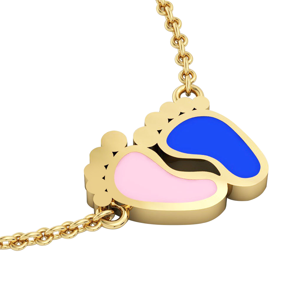 baby feet necklace, made of 925 sterling silver / 18k gold with pink and blue enamel