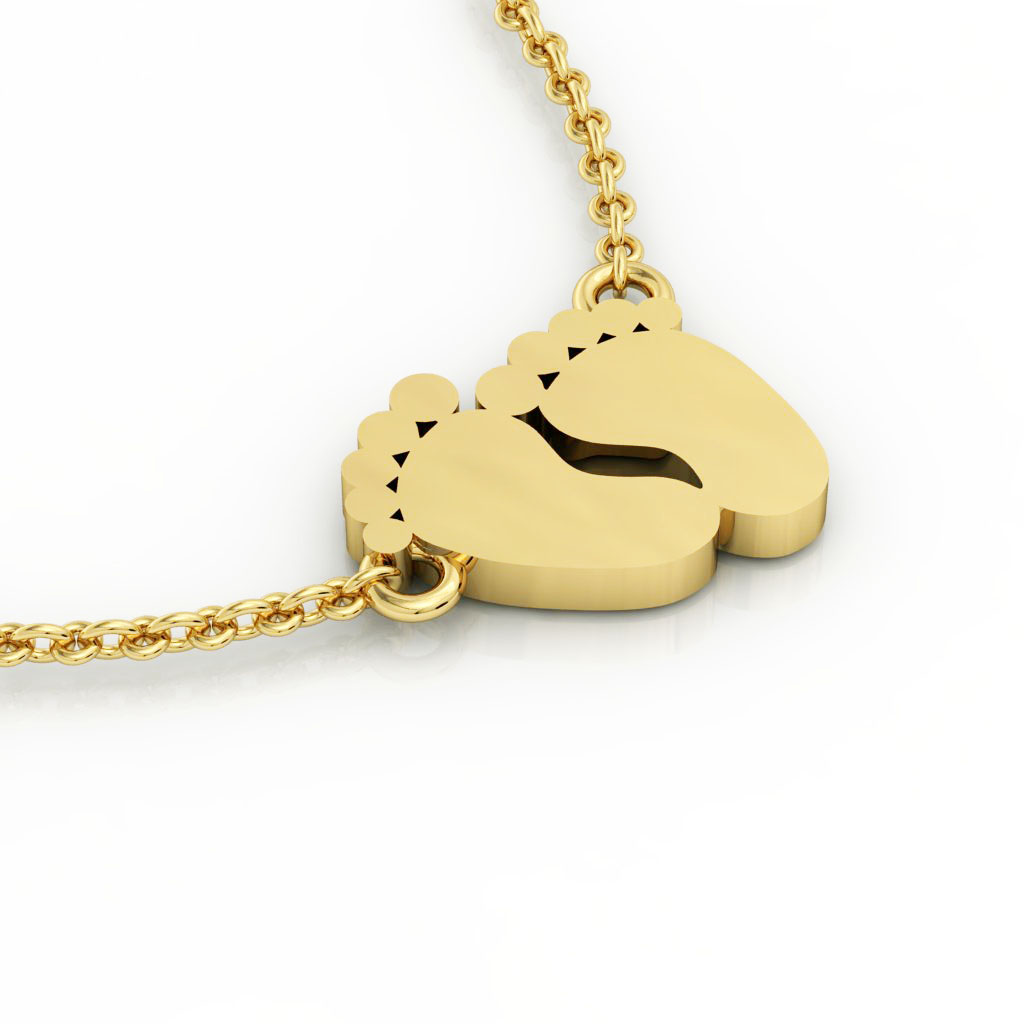 baby feet necklace, made of 925 sterling silver / 18k gold finish