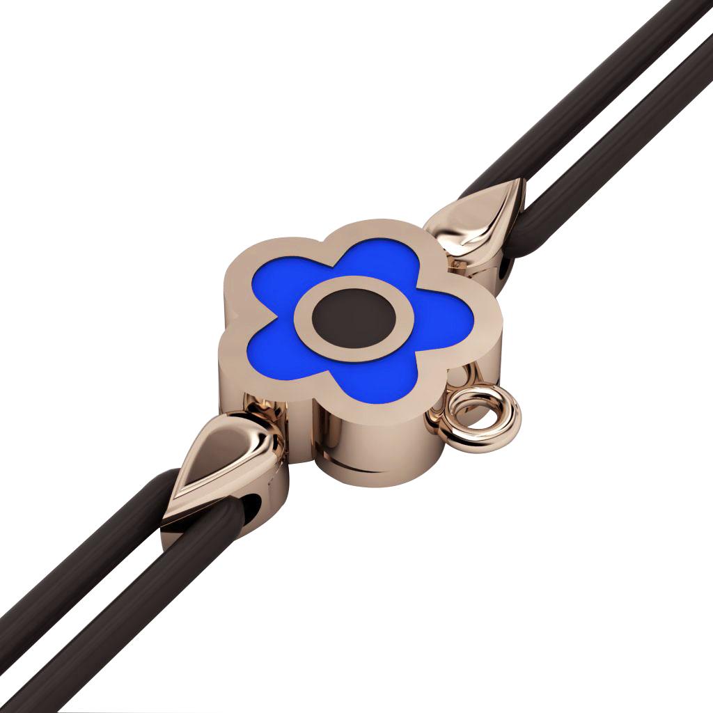 Daisy Evil Eye Macrame Charm Bracelet, made of 925 sterling silver / 18k rose gold  finish with black and blue enamel – black cord