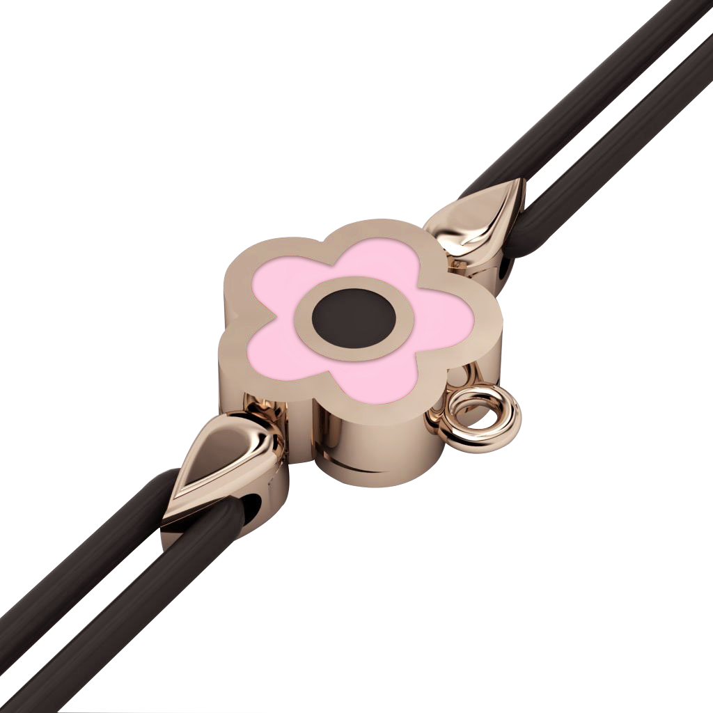 Daisy Evil Eye Macrame Charm Bracelet, made of 925 sterling silver / 18k rose gold  finish with black and pink enamel – black cord