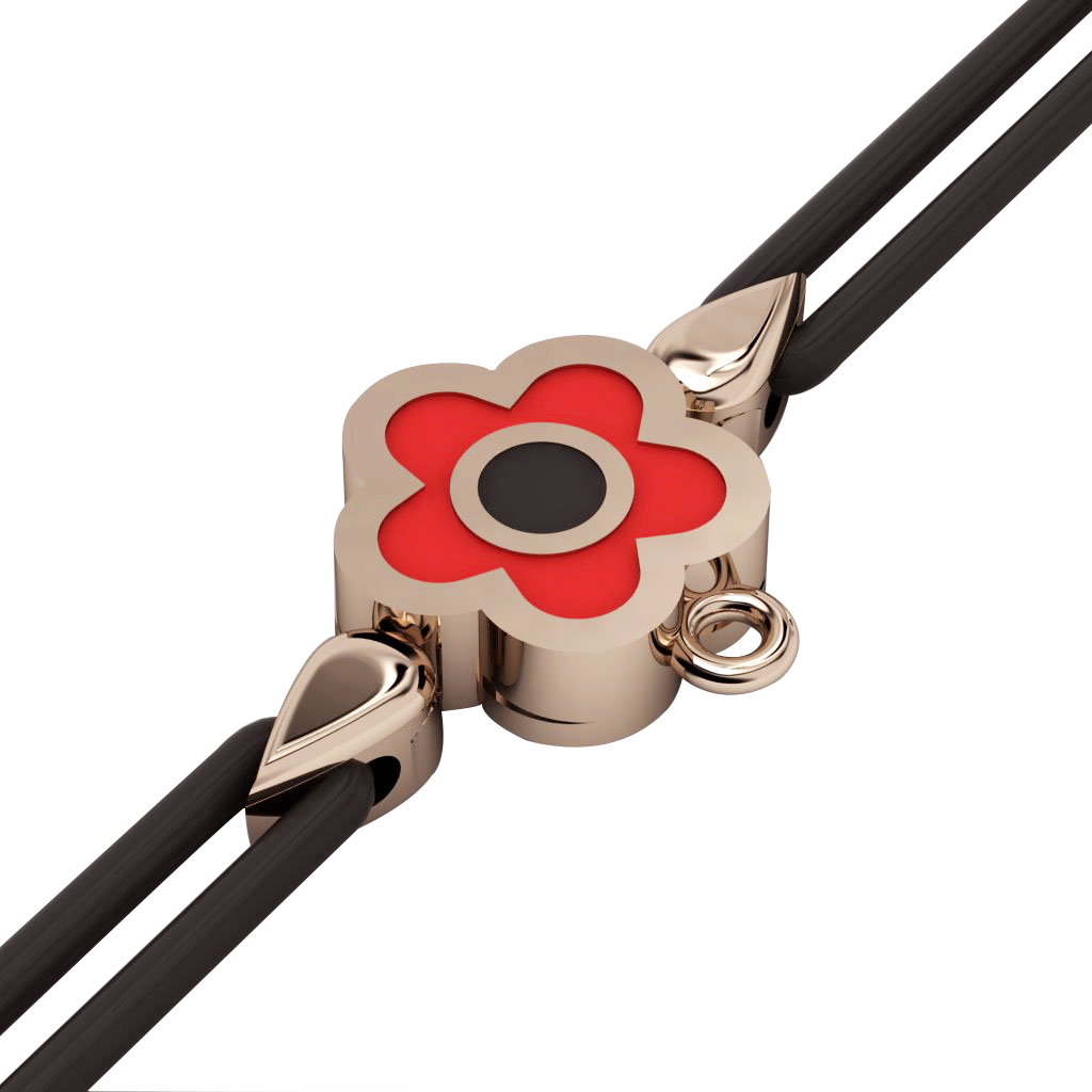 Daisy Evil Eye Macrame Charm Bracelet, made of 925 sterling silver / 18k rose gold  finish with black and red enamel – black cord