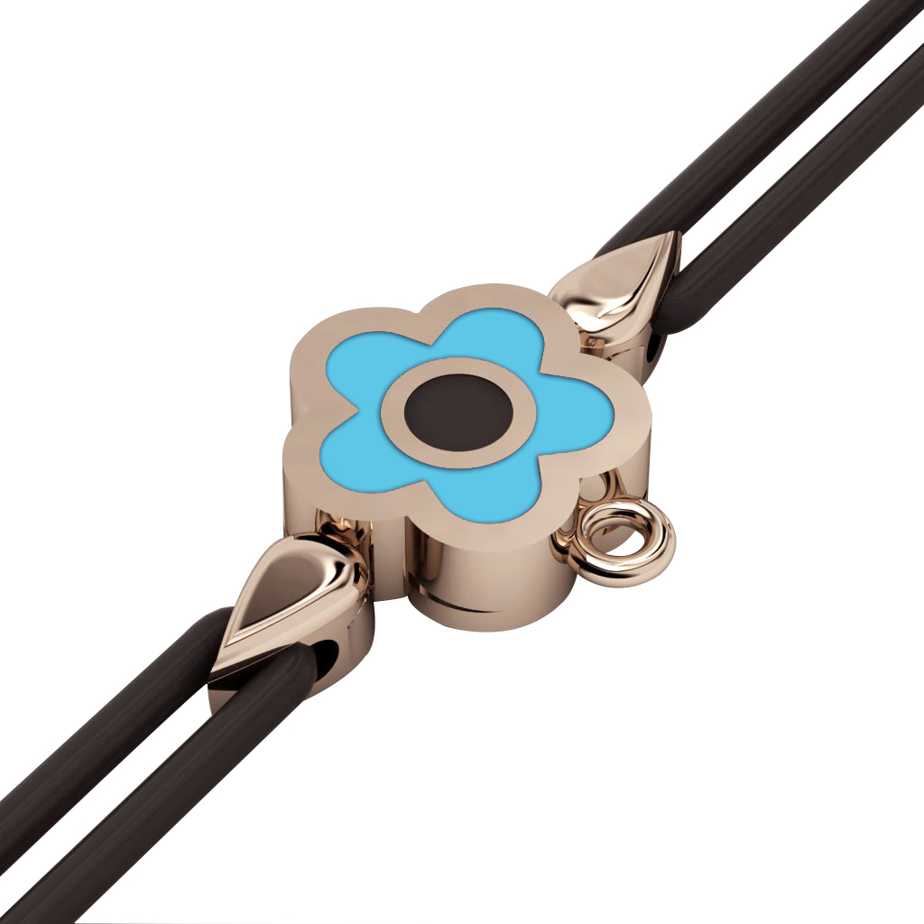 Daisy Evil Eye Macrame Charm Bracelet, made of 925 sterling silver / 18k rose gold  finish with black and turquoise enamel – black cord